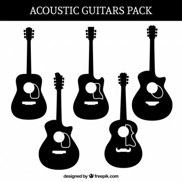 Free vector Silhouettes set of acoustic guitars #8902
