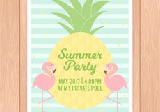 Free vector Striped poster template for summer party #4734