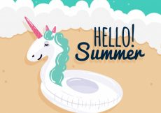 Free vector Summer background with unicorn float #8270
