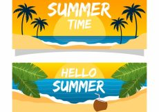 Free vector Summer banners with beach at sunset #8502