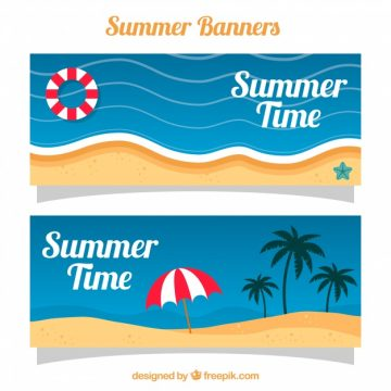 Free vector Summer banners with beach landscapes #8508