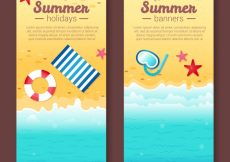 Free vector Summer banners with sea and decorative objects #4810