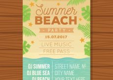 Free vector Summer party brochure with decorative palm leaves #4738