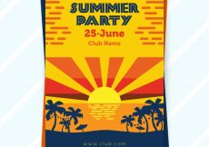 Free vector Summer party brochure with sunset #6118