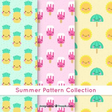 Free vector Summer patterns with happy characters #4768