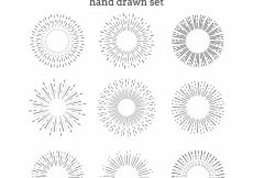Free vector Sunburst collection hand drawn set #4037
