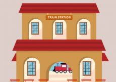 Free vector Train station in flat design #9050