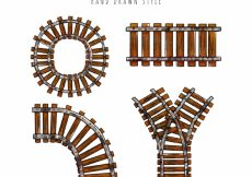 Free vector Train track collection hand drawn style #3894