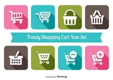 Free vector Trendy Shopping Cart Icon Set #4016