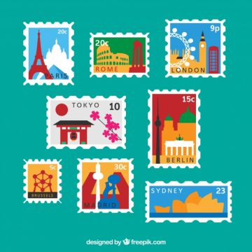 Free vector Variety of city post stamps #6469