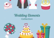 Free vector Variety of flat wedding elements #10531