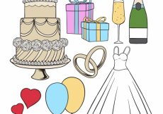 Free vector Variety of hand-drawn elements for wedding #10587
