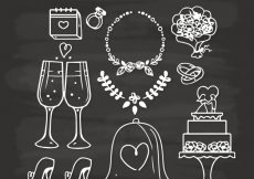Free vector Variety of hand-drawn wedding elements #10579