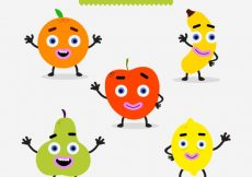 Free vector Variety of happy fruit characters #7771