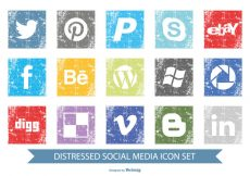 Free vector Distressed Social Media Icon Set #9529