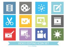 Free vector Flat Style Video Editing Icon Set #4975