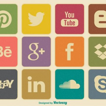 Free vector Retro Style Social Media Icon Set #5946