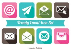 Free vector Trendy long Shadow Style Email Icon Set #6518