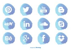 Free vector Watercolor Style Social Media Icon Set #4004