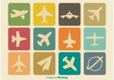 Free vector Vintage Airplane Icon Set #8453