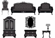Free vector Vintage furniture collection #10906