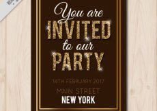 Free vector Vintage party brochure with golden details #11175