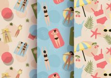 Free vector Vintage patterns of people on the beach #10393