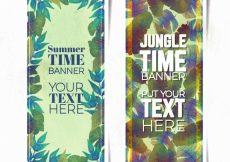 Free vector Vintage summer banners with leaves #4816