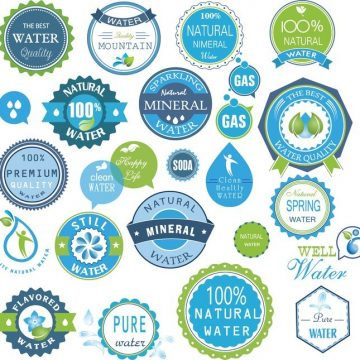 Free vector Water Badges And Stickers Set #4155