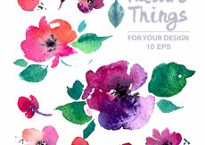 Free vector Watercolor flowers and leaves collection #7244