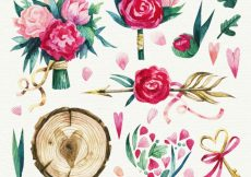 Free vector Watercolor flowers collection #11853