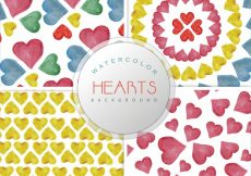 Free vector Watercolor hearts pattern background collection #8882