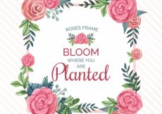 Free vector Watercolor roses frame with nice message #4308