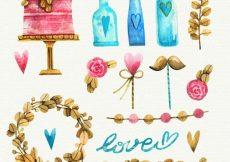 Free vector Watercolor wedding elements collection #11855