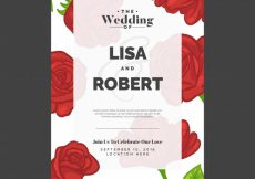 Free vector Wedding invitation with roses #6952