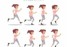 Free vector Woman running with different poses #4994
