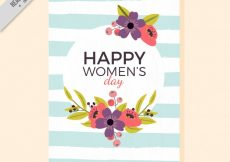 Free vector Women's day floral card with blue and white stripes #11401