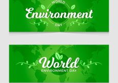Free vector World environment day banner green design #5471
