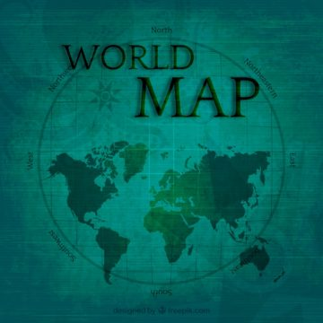 Free vector World map in vintage style #6533