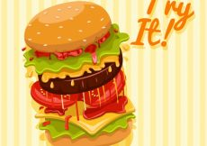 Free vector Yellow striped background with a big burger #6614