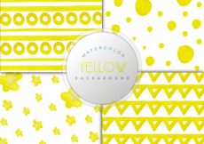 Free vector Yellow watercolor background collection #9821