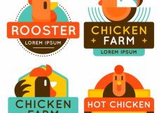 Free vector Assortment of colored chicken logos #15417