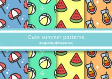 Free vector Assortment of four cute summer patterns #13393