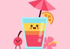 Free vector Background in flat design of nice cocktail with cherry #17748