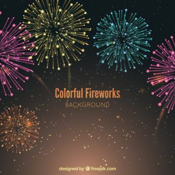 Free vector Background of beautiful colored fireworks #18393