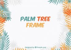 Free vector Background of colored palm leaves frame #13171