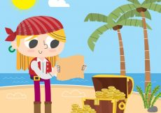 Free vector Background of pirate girl with treasure #13860