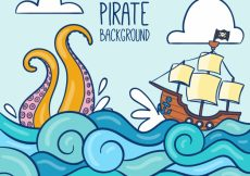 Free vector Background with pirate ship and waves #17822