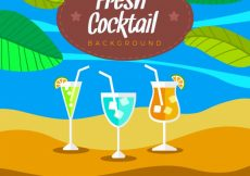 Free vector Beach background with three cocktails #17764