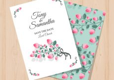 Free vector Beautiful wedding invitation with pink flowers #13954